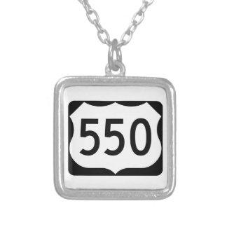US Route 550 Sign Square Pendant Necklace