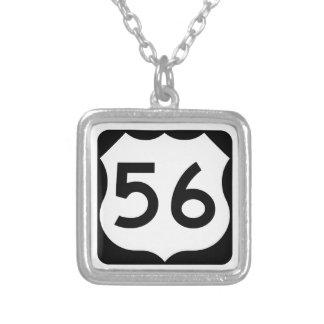 US Route 56 Sign Square Pendant Necklace