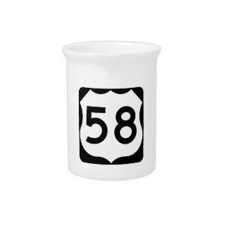 US Route 58 Sign Beverage Pitcher