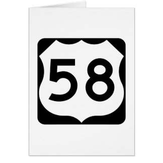 US Route 58 Sign Card
