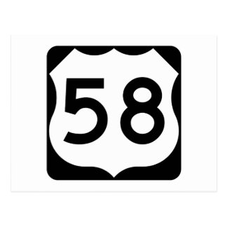 US Route 58 Sign Postcard