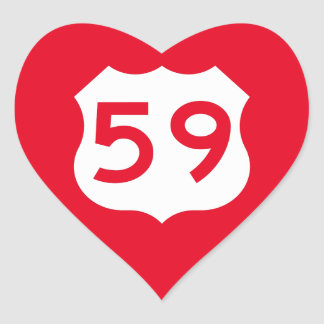 US Route 59 Sign Heart Sticker