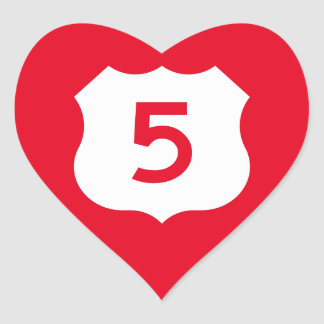 US Route 5 Sign Heart Sticker