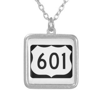 US Route 601 Sign Square Pendant Necklace