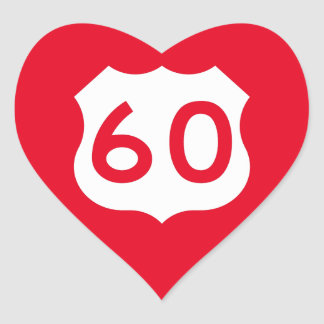 US Route 60 Sign Heart Sticker