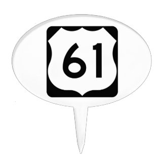 US Route 61 Sign Cake Topper