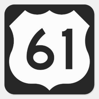 US Route 61 Sign Square Sticker