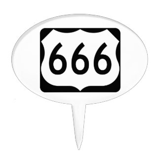 US Route 666 Sign Cake Topper