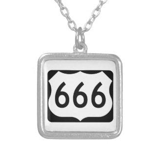 US Route 666 Sign Square Pendant Necklace