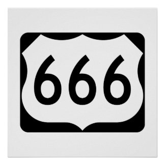 US Route 666 Sign Poster