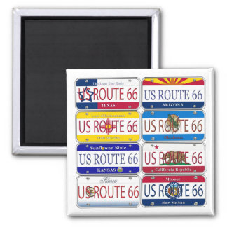 US ROUTE 66 All 8 States Vanity Plates 2 Inch Square Magnet
