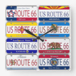 US ROUTE 66 All 8 States Vanity Plates Wall Clocks