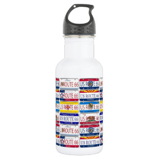 US ROUTE 66 All 8 States Vanity Plates Water Bottle