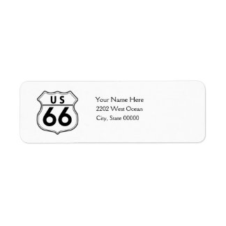 US Route 66 Classic Return Address Label