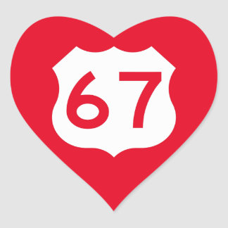 US Route 67 Sign Heart Sticker