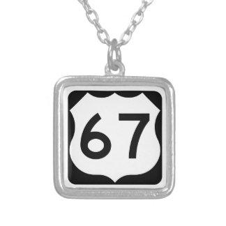 US Route 67 Sign Square Pendant Necklace