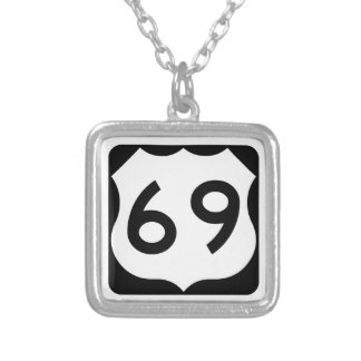 US Route 69 Sign Square Pendant Necklace