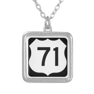 US Route 71 Sign Square Pendant Necklace