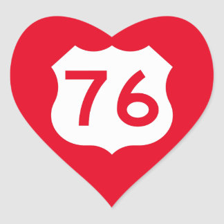 US Route 76 Sign Heart Sticker