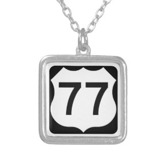 US Route 77 Sign Square Pendant Necklace