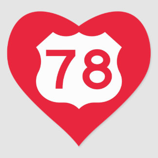 US Route 78 Sign Heart Sticker