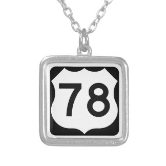 US Route 78 Sign Square Pendant Necklace