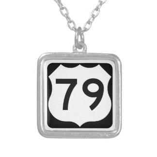 US Route 79 Sign Square Pendant Necklace