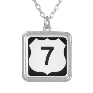 US Route 7 Sign Square Pendant Necklace