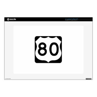 """US Route 80 Sign Decal For 15"""" Laptop"""