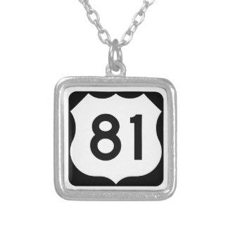 US Route 81 Sign Square Pendant Necklace