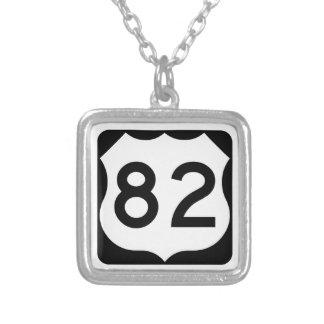 US Route 82 Sign Square Pendant Necklace