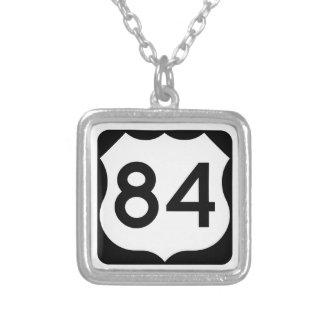US Route 84 Sign Square Pendant Necklace