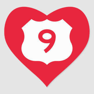 US Route 9 Sign Heart Sticker