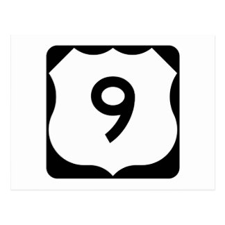 US Route 9 Sign Postcard