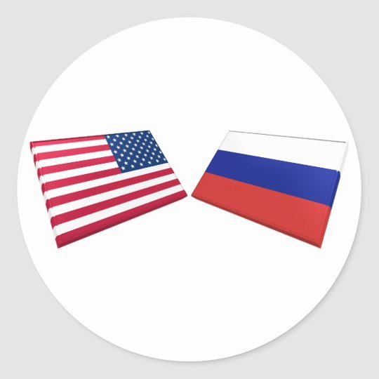 US & Russia Flags Classic Round Sticker