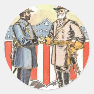 US Shield Union Confederate Soldier Classic Round Sticker