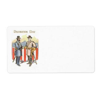US Shield Union Confederate Soldier Label