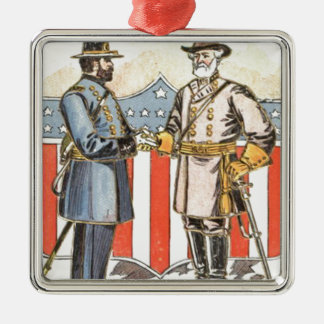 US Shield Union Confederate Soldier Metal Ornament