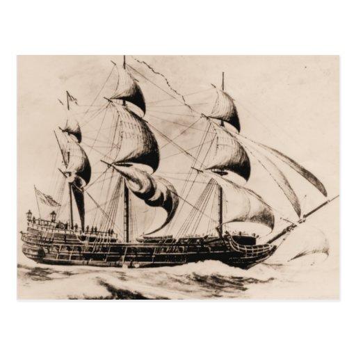 US ship Bonhomme Richard at sea Post Card