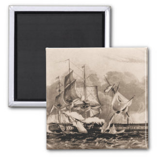 US ship Constitution in action 2 Inch Square Magnet