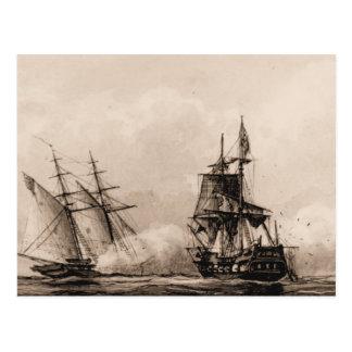 US ship Schooner Enterprise in action Postcard