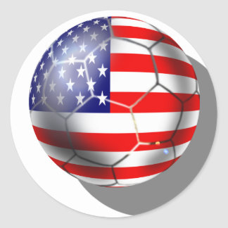 US Soccer team fans stars and stripes flag ball Classic Round Sticker