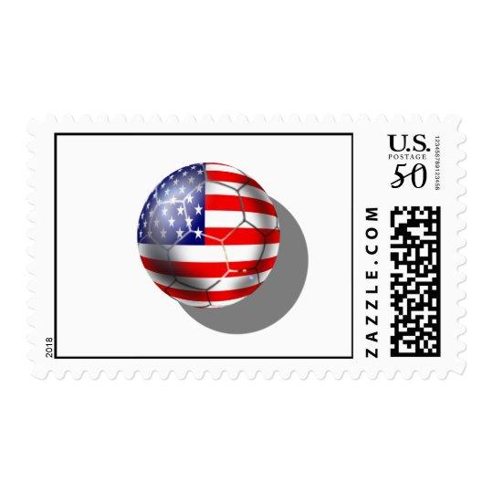 US Soccer team fans stars and stripes flag ball Postage