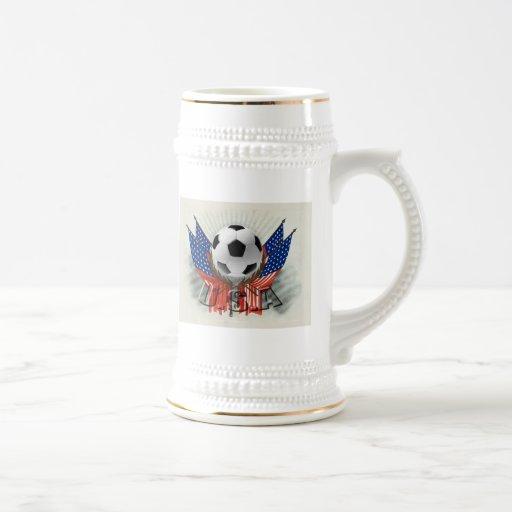 US soccer vintage retro artwork gear Beer Stein
