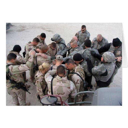 US Soldiers Praying - Customized Greeting Card