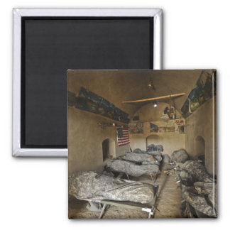 US Soldiers sleep in an abandoned mud house Magnet