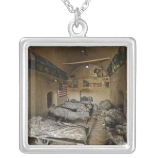 US Soldiers sleep in an abandoned mud house Silver Plated Necklace
