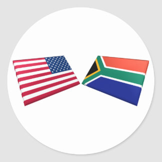 US & South Africa Flags Classic Round Sticker