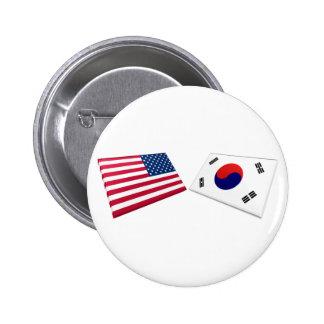 US & South Korea Flags Button