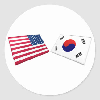 US & South Korea Flags Stickers